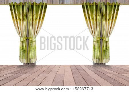 window with beautiful green curtains and wood floor interior