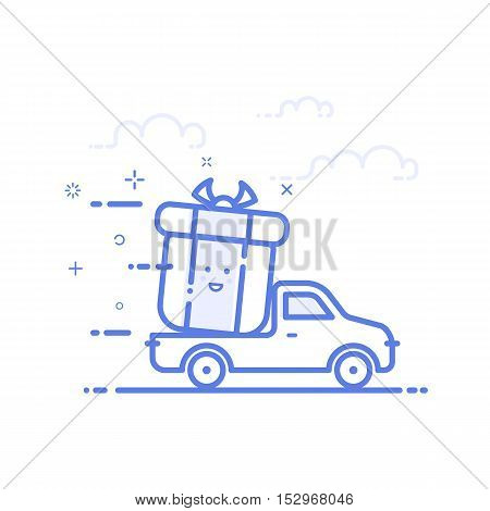 Vector illustration of icon shopping concept delivery servicein in line style. Linear motion truck with gift or bounty. Design for internet, banner, web page and mobile app. Outline object e-commerce.