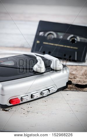 Old Casette Tape Player And Recorder With Earphones
