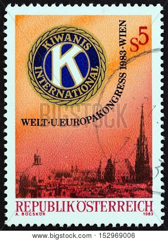 AUSTRIA - CIRCA 1983: A stamp printed in Austria issued for the World and European Conference of Kiwanis International, Vienna shows Kiwanis Emblem and View of Vienna, circa 1983.
