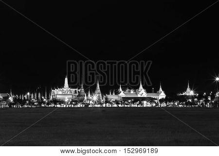Black And White Effect Of Wat Pra Kaew Public Temple Grand Palace At Night, Bangkok Thailand
