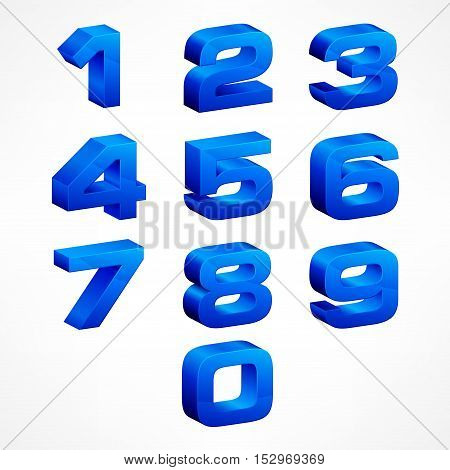 Alphabet Isometric Numbers In Blue