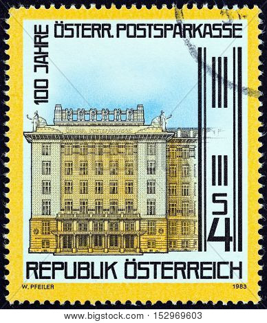 AUSTRIA - CIRCA 1983: A stamp printed in Austria issued for the centenary of Postal Savings Bank shows Bank, Vienna, circa 1983.