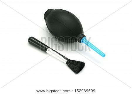 Silicone Blower For Camera And Lenses With Black Cleaning Brush Isolated On White Background