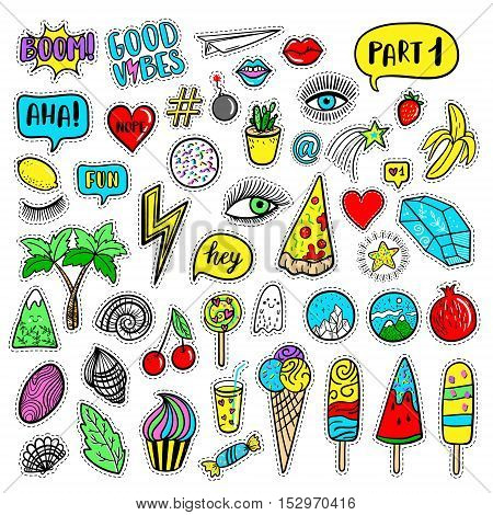 Vector hand drawn fashion patches: eyes ice cream crystal palm pizza banana ghost lip heart star speech bubble. Modern set of pop art stickers patches pins badges in 80s-90s cartoon style
