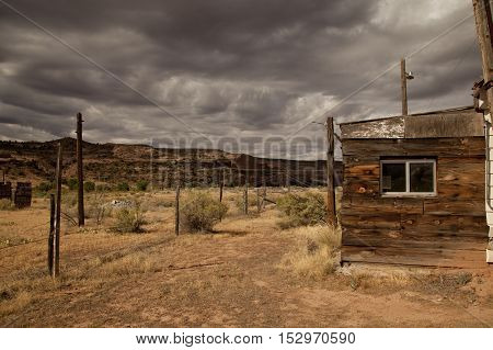 Abandoned gas station on highway 128 in Utah