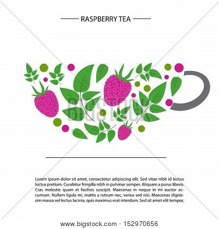 raspberry and leaves and in the form of a cup. raspberry tea