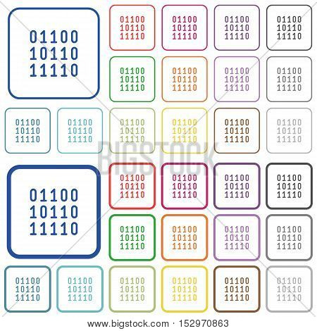 Binary code color icons in flat rounded square frames. Thin and thick versions included.