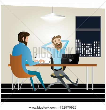 A vector illustration of tired businessman working late at night in the office