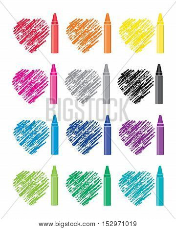 vector colorful set of crayons and heart drawings