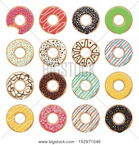 vector flat icons of glazed colorful donuts on white background one donut is bitten