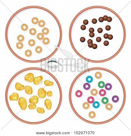vector top view set of bowls with breakfast wholegrain cereal in milk for kids