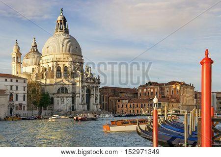 beautiful cityscape of the Grand Canal and Basilica Santa Maria della Salute in Venice, Italy