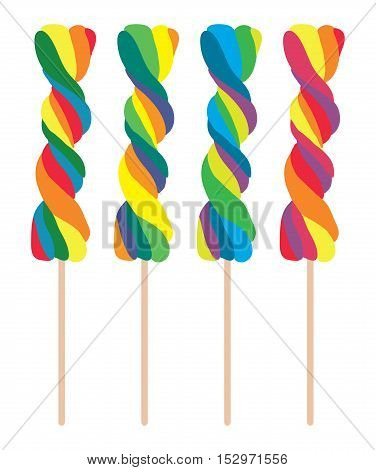 vector set of colorful twisted lollipops isolated on white background