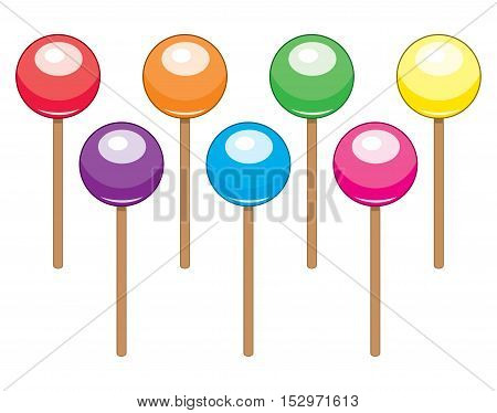 vector collection of colorful lollipop candy balls