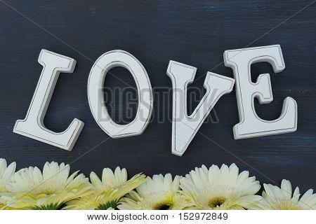 Cream gerbera flowers border on dark wood with love letters