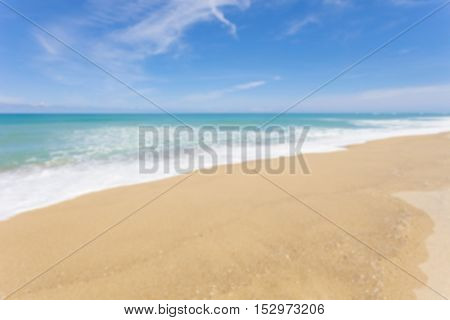 Blur beach and tropical seafor scenery summer background