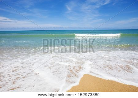 beautiful beach and tropical sea and wave scenery background