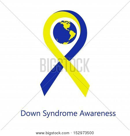 International day of down syndrome awareness vector illustration with blue and yellow ribbon traditional symbol and earth globe in similar colors. Perfect for badges banners ads flyers.