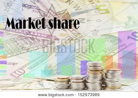 rows of coins on banknotewith Written word market share