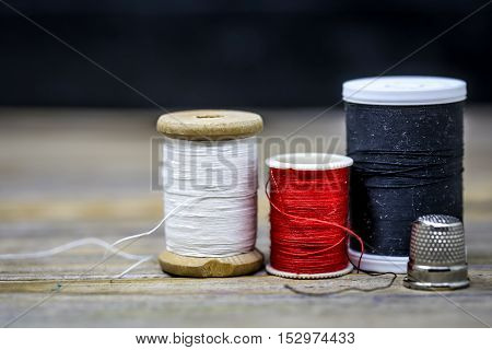 Sewing Thread Black And White  Red Color