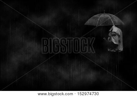 Man in the rain . Loneliness. Sadness.