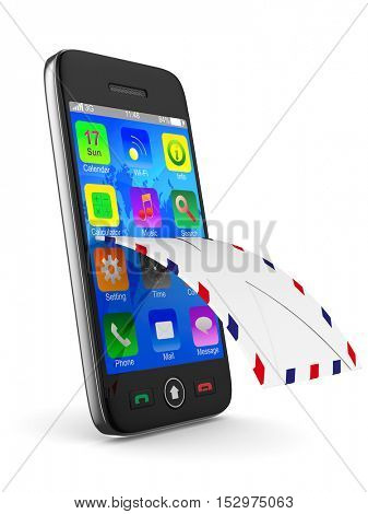 phone and mail on white background. Isolated 3D image