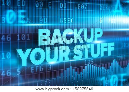 Backup your stuff abstract concept blue text on blue background
