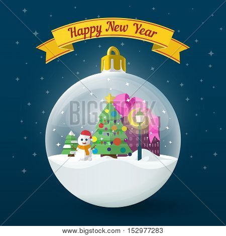 Transparent Christmas ball on dark blue background. Vector illustration for the website, ads, banners. Christmas tree, snowman, lamp post and box with gifts in the ball. Vector illustration.