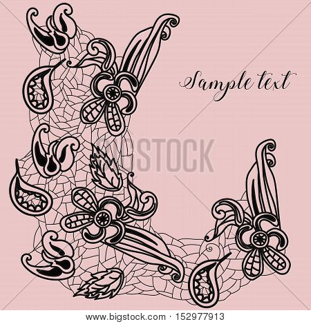 Lace elements on a rosy background. Flowers and leaves elements