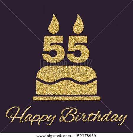 The birthday cake with candles in the form of number 55 icon. Birthday symbol. Gold sparkles and glitter Vector illustration