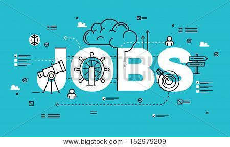 Word JOBS, line flat vector business design for job candidate evaluation, interviewing, assessment, recruiting. Resources and corporate management, hiring, employment, freelance, jobs,career concept