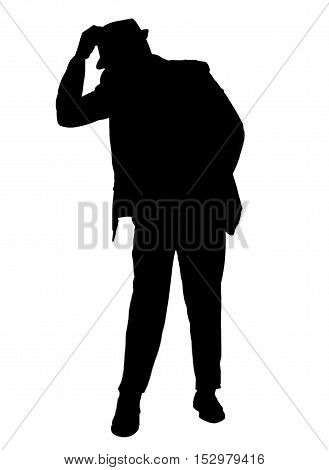 Silhouetted of a man dressed in a suit tipping his hat isolated on   white.  Quartzite Arizona.