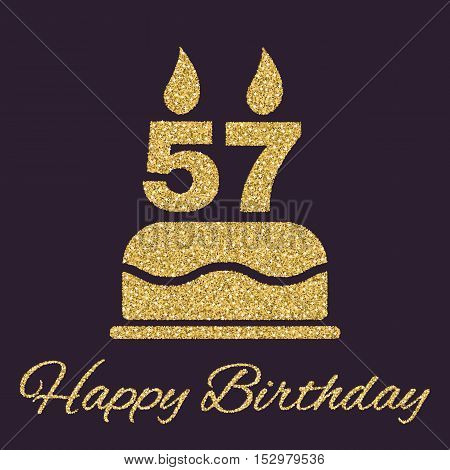 The birthday cake with candles in the form of number 57 icon. Birthday symbol. Gold sparkles and glitter Vector illustration