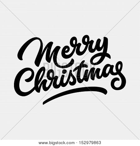 Merry Christmas, xmas badge with handwritten lettering, calligraphy with light background for logo, banners, labels, invitations, prints, posters, web, presentation. Vector illustration.
