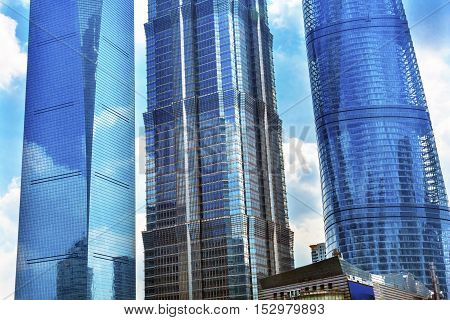 Three Skyscrapers Reflections Make Patterns and Designs Liujiashui Financial District Shanghai China. Shanghai Tower Shanghai World Financial Center and Jin Mao Tower