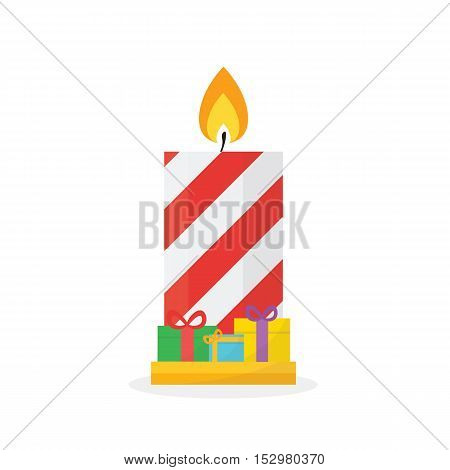 Christmas Concept By Candle Have Gift Box