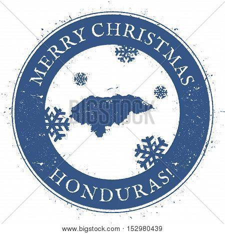 Honduras Map. Vintage Merry Christmas Honduras Stamp. Stylised Rubber Stamp With County Map And Merr