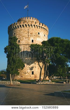 Thessaloniki, Greece - September 29, 2016: The White Tower At Thessaloniki City In Greece