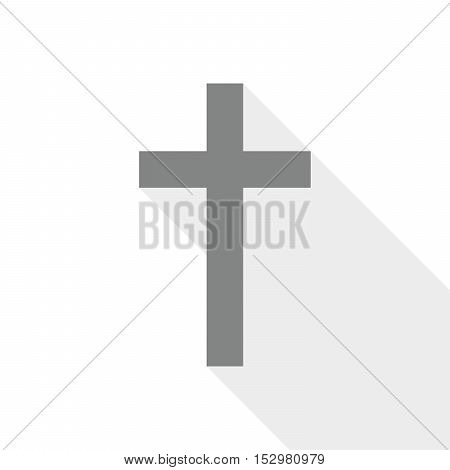 Gray christian cross icon. Abstract christian cross with long shadow. Vector illustration