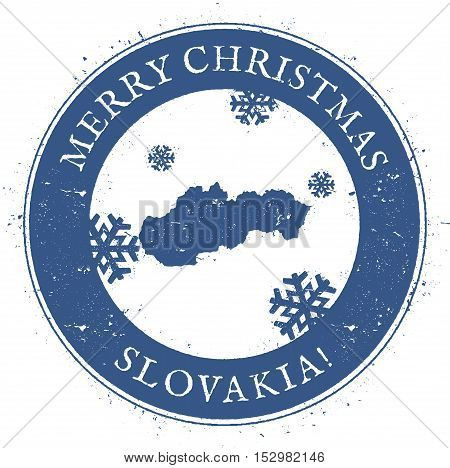 Slovakia Map. Vintage Merry Christmas Slovakia Stamp. Stylised Rubber Stamp With County Map And Merr
