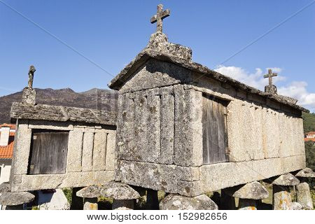 Detail of the communitarian granaries called espigueiros in the village of Soajo Peneda National Park Northern Portugal
