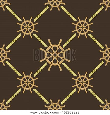Ship steering wheel seamless pattern. Boat helms and ropes repeating texture. Nautical background. Vector eps8 illustration.
