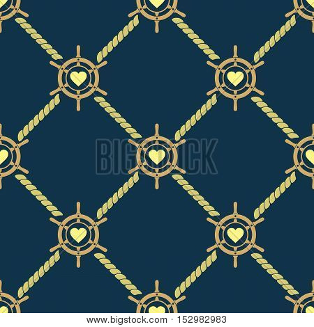 Ship steering wheel seamless pattern. Boat helms ropes and hearts repeating texture. Nautical background. Vector eps8 illustration.