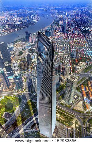 SHANGHAI, CHINA - SEPTEMBER 23, 2016 Looking Down on Black Shanghai World Financial Center Skyscraper Huangpu River Cityscape Liujiashui Financial District Shanghai China.