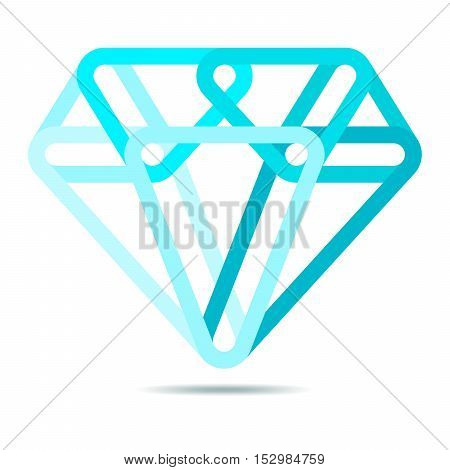 Simple diamond icon in flat design. Vector illustration. Blue sign of diamond isolated on white background.