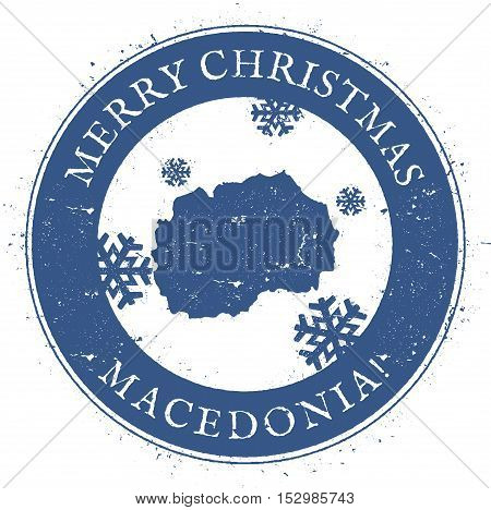 Macedonia, The Former Yugoslav Republic Of Map.. Vintage Merry Christmas Macedonia, The Former Yugos