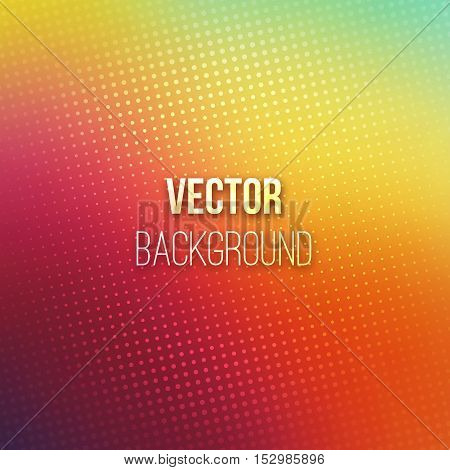 Colorful blurred background with halftone effect overlay. Dotted pattern on red-orange abstract gradient backdrop. Vector illustration