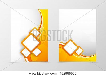 Front and back dynamic wave flyer template design. Abstract template with orange lines and white squares in smooth style. Vector illustration