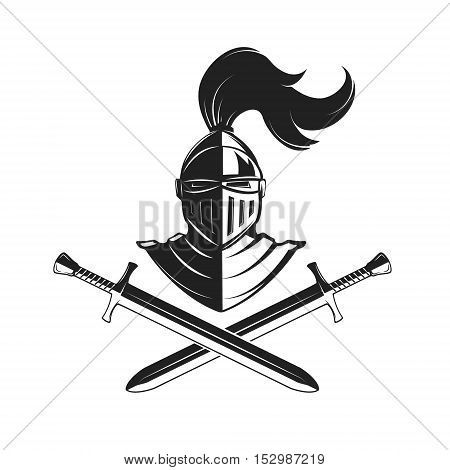 Knight helmet with two swords isolated on white background. Design elements for logo label emblem sign brand mark. Vector illustration.